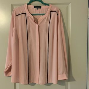Gorgeous pink blouse with navy piping & stitching
